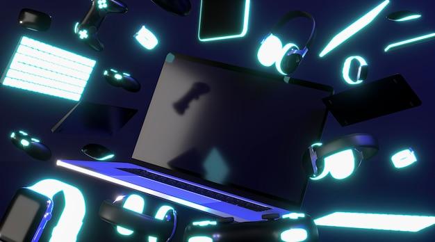 Cyber maandag pictogram met neon toetsenborden