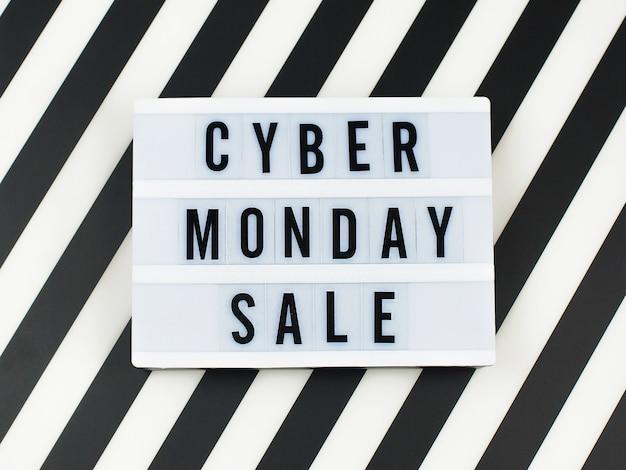 Cyber maandag verkoop tekst op lightbox banner