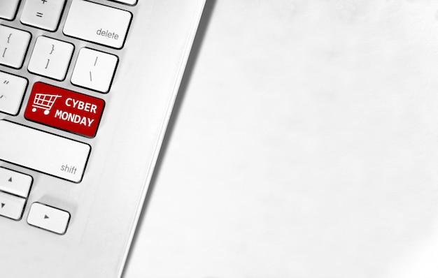 Cyber monday-tekst op het toetsenbord van de laptop