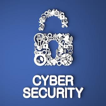 Cyber security card handgemaakt van papieren tekens op blauwe achtergrond