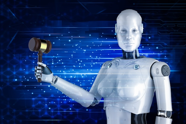 Cyber wet concept met 3d-rendering robot hand met hamer rechter