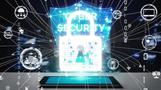 Cyberbeveiliging en digitale gegevensbescherming conceptueel