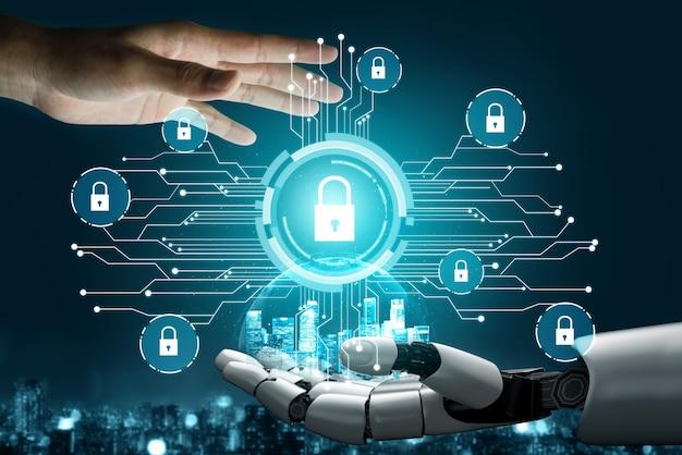 Cyberbeveiligingstechnologie en online gegevensbescherming door ai-robot