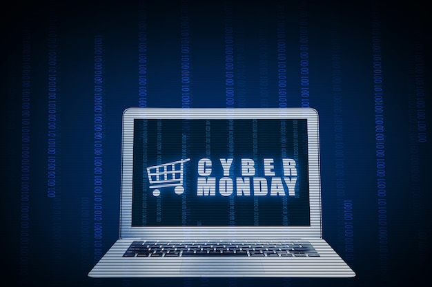 Cybermaandag-advertentie op het laptopscherm met een blauwe achtergrond