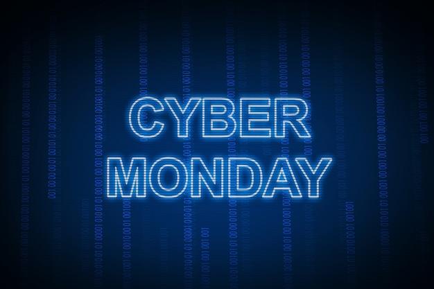 Cybermaandag-tekst met een blauwe achtergrond
