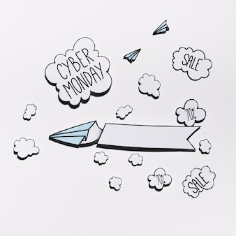 Cybermaandagaanbieding op papieren wolk met vliegtuigen