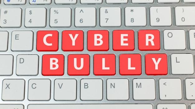 Cyberpesten rode knop op zilveren toetsenbord.
