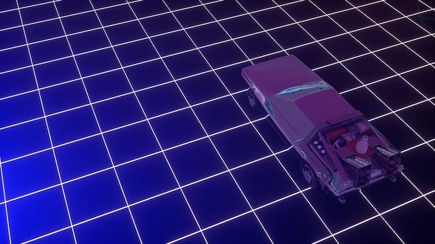 Cyberpunk-auto in jaren 80-stijl beweegt op een virtueel neonlandschap. 3d-afbeelding.