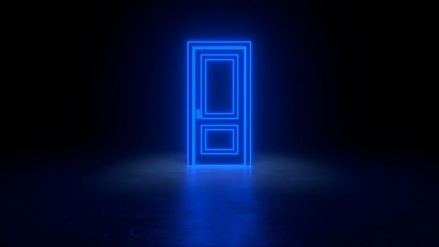 Cyberpunk blauw neon deur muur concept