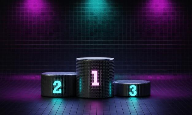 Cyberpunk cilinder winnaar podium op spotlight achtergrond met neon emissie nummer plaats.