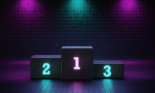 Cyberpunk kubus winnaar podium op schijnwerpers