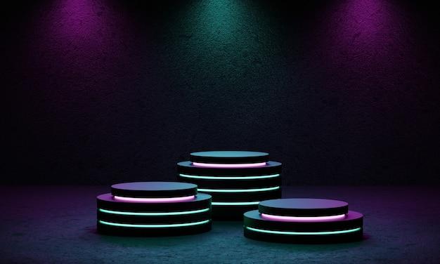 Cyberpunk-productpodiumplatformstudio met blauwe en violette schijnwerpers en grunge-stijl gestructureerde achtergrond.