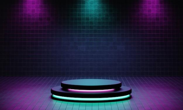 Cyberpunk-productpodiumplatformstudio met blauwe en violette schijnwerpers
