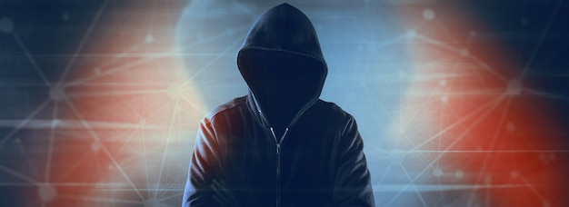 Cybersecurity, computerhacker met hoodie