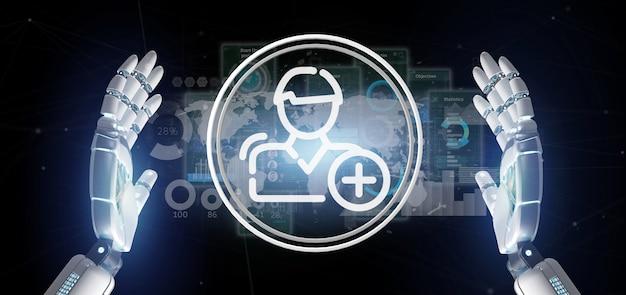Cyborg hand met nieuw contactpictogram