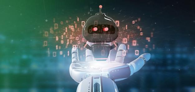 Cyborg hand met virus chatbot met binaire code 3d-rendering