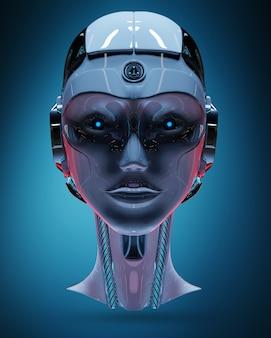Cyborg hoofd kunstmatige intelligentie 3d-rendering