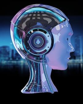 Cyborg hoofd kunstmatige intelligentie