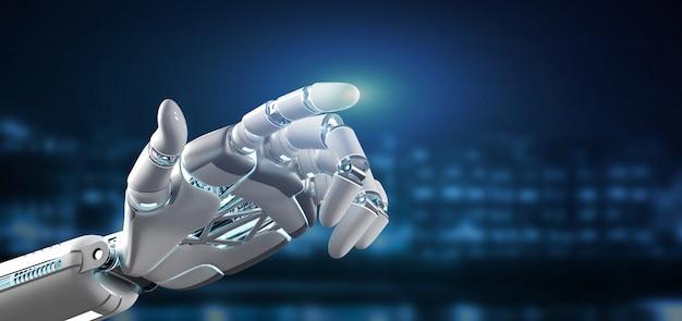 Cyborg-robothand het oncity 3d teruggeven