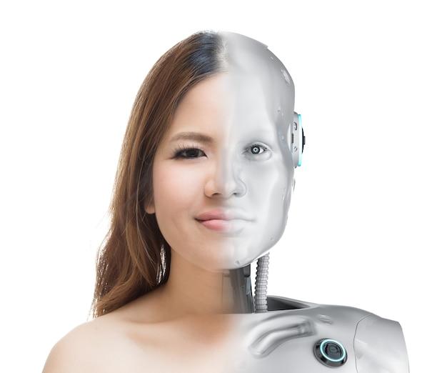 Cyborg vrouw of cyborg meisje geïsoleerd op wit