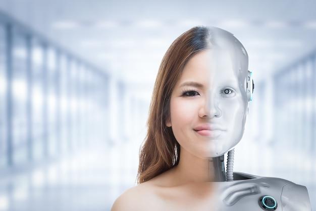 Cyborg-vrouw of cyborg-meisjesconcept met robot in de mens