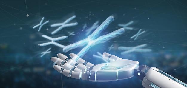 Cyborghand die een groep chromosoom met dnabinnenkant houden die op a wordt geïsoleerd