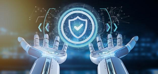 Cyborghand die een pictogram van de technologieveiligheid op een cirkel houden