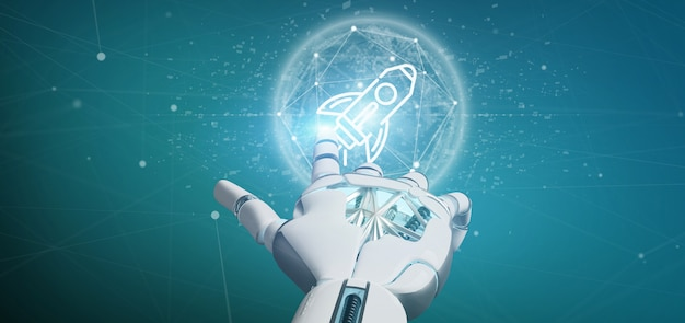 Cyborghand die een startraket op een gebied houden