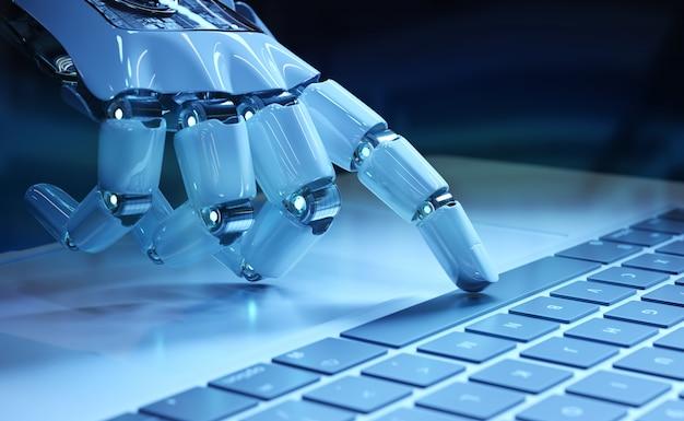 Cyborghand die een toetsenbord op laptop drukken