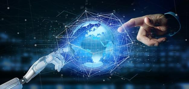 Cyborghand die een verbonden netwerk over een concept van de aardebol op een futuristische interface houden - het 3d teruggeven