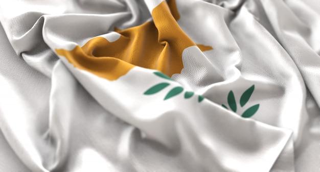 Cyprus flag ruffled mooi wave macro close-up shot