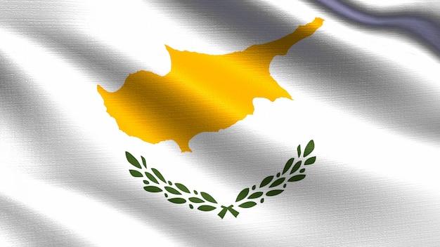 Cyprus vlag, met zwaaien stof textuur