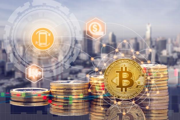 Cyptocurrency digitale muntenhandel en beursmarktconcept.