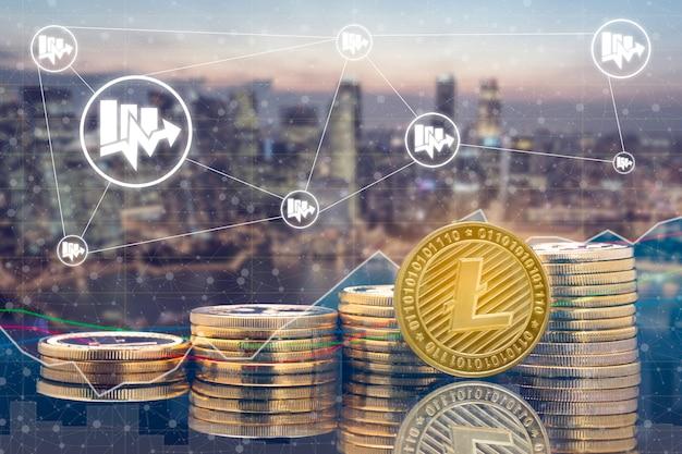 Cyptocurrency digitale muntenhandel en wisselmarktconcept.