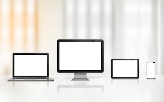 D computer laptop mobiele telefoon en digitale tablet-pc