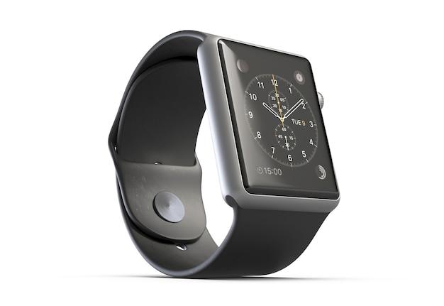 D illustratie draadloos slim horloge dat op witte achtergrond wordt geïsoleerd