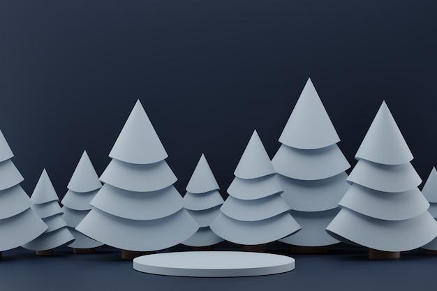 D illustratie met groene kerstbomen op blauwe achtergrond winterdecoratie