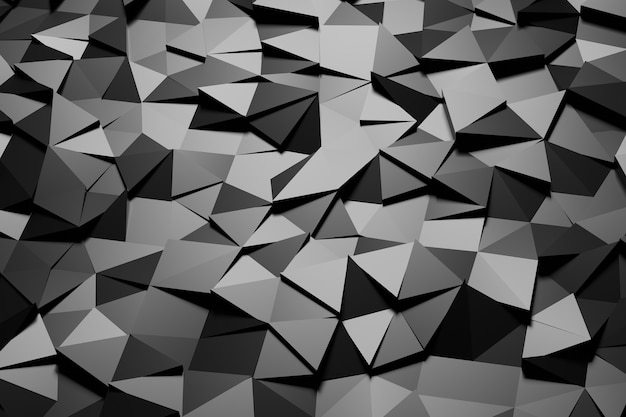 D illustratie met zwarte abstracte veelhoekige mozaïektextuur