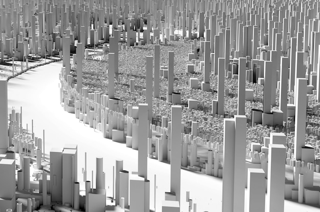 D render van abstracte kunst van scatter d landschapsachtergrond met surrealistische stedelijke stad mega polis