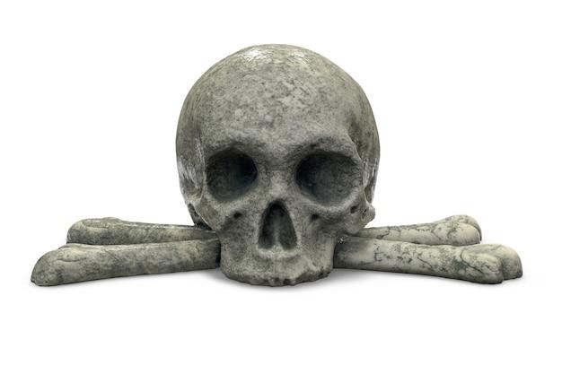 D render van stenen schedel en gekruiste knekels op wit wordt geïsoleerd