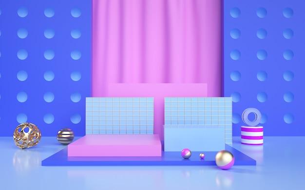 D weergave van blauwe abstracte geometrische achtergrond met podium voor een productvertoning