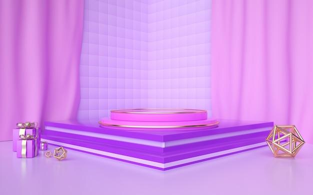 D weergave van een paarse abstracte geometrische achtergrond met een podium voor een cosmetische vertoning