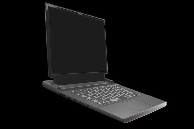 D-weergave van moderne gaming-laptop met rgb-verlichting geïsoleerd op zwart