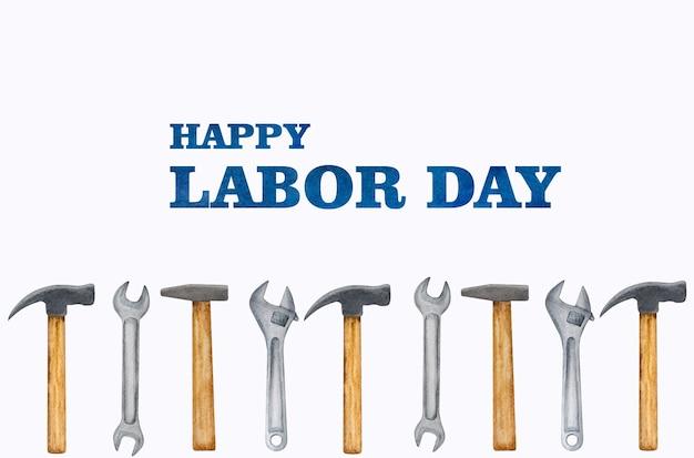 Dag van de arbeid. mooie tekening van bouwgereedschap. bekijk van bovenaf, close-up. voorbereiding op de viering. felicitaties aan familie, familieleden, vrienden en collega's.