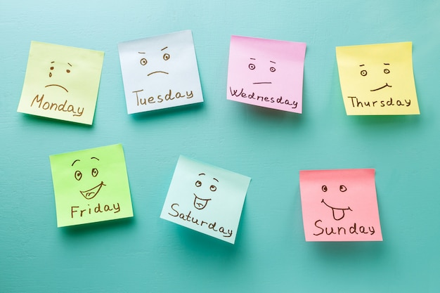 Dag van de week en gezichtsuitdrukking. gekleurde stickers op een blauw prikbord