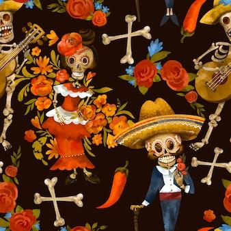 Dag van het dode naadloze patroon. suiker schedel textuur, cinco de mayo behang op zwarte achtergrond