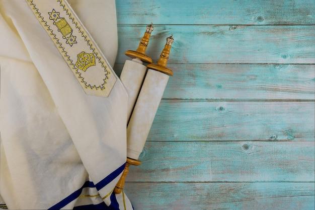 Dag van joodse feestdagen symbolen gebed sjaal tallit