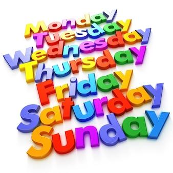 Dagen van de week gevormd met kleurrijke lettermagneten