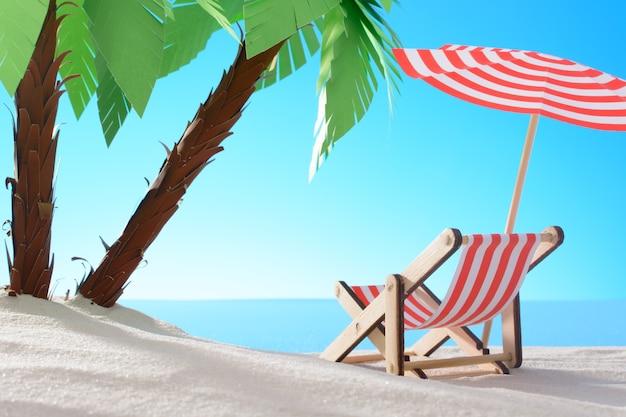Dageraad aan de zandkust met palmbomen en ligstoel
