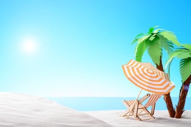 Dageraad aan de zandkust met palmbomen met blauwe lucht